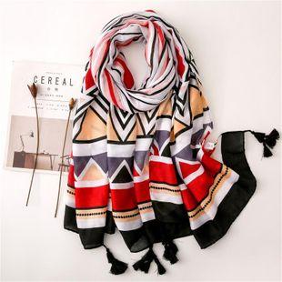 Strip geometry diamond print thin scarf female retro tassel cotton shawl long scarf NHGD180077's discount tags