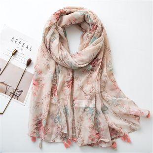 Flower cotton and linen scarf spring and summer new shawl long paragraph sunscreen shawl female NHGD180079's discount tags