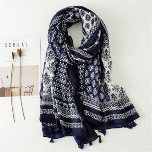 Vintage blue and white porcelain fringed cotton and linen scarves long paragraph shawl women wholesale NHGD180081's discount tags