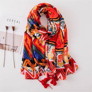 Scarf female silk scarf color geometric cotton beach towel sunscreen shawl NHGD180083's discount tags