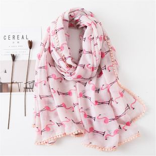Flamingo lace hair ball lace sunscreen shawl pink cotton and linen scarf travel beach towel scarves NHGD180084's discount tags