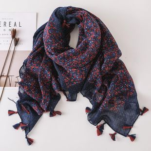 Cotton and linen scarf female bohemian large sunscreen beach scarf tassel shawl female NHGD180085's discount tags