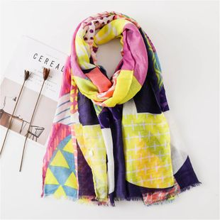 New sunscreen shawl scarves cotton ethnic wind geometry diamond scarves scarf NHGD180086's discount tags