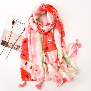 Watermelon pink cotton and linen scarf new fashion tassel sunscreen shawl scarves NHGD180087's discount tags