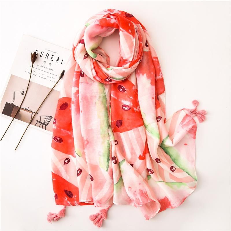 Watermelon pink cotton and linen scarf new fashion tassel sunscreen shawl scarves NHGD180087