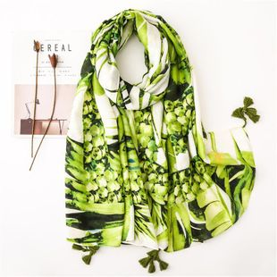 Pineapple pineapple element cotton and linen printed scarf seaside holiday beach towel shawl NHGD180088's discount tags