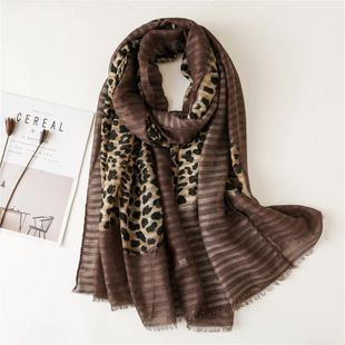 Leopard scarf female winter color cotton and linen feels scarf fashion warm scarf to increase shawl NHGD180093's discount tags