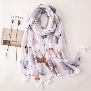 Plain color cute animal cotton and linen scarf long white beach shawl seaside scarf NHGD180092's discount tags