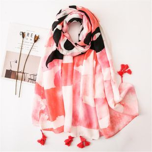Pink letter marshmallow fashion cotton scarf sunscreen shawl scarves NHGD180098's discount tags