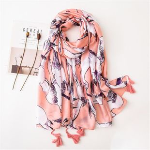 Foundation white dove print beautiful fringed cotton and linen scarf sunscreen long shawl female NHGD180102's discount tags