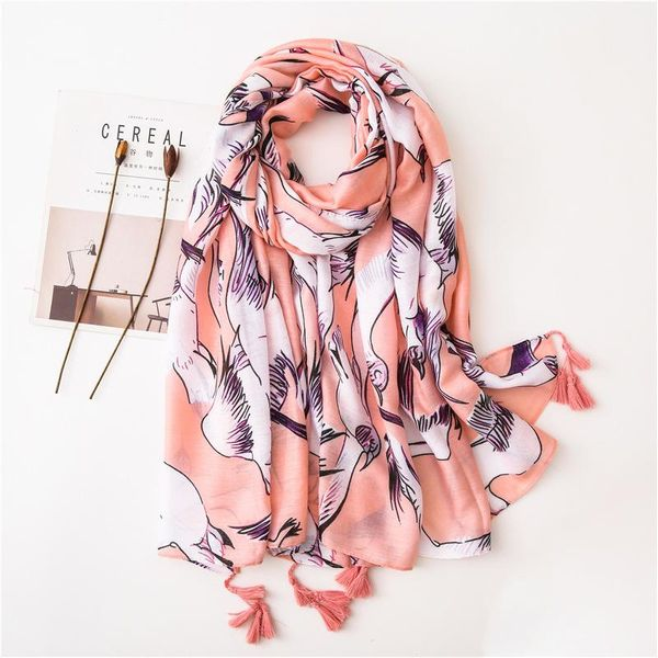 Foundation white dove print beautiful fringed cotton and linen scarf sunscreen long shawl female NHGD180102