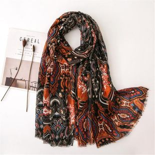 Bohemian cotton and linen scarf female retro silk scarf fringed sea sunscreen shawl NHGD180101's discount tags