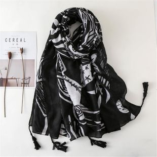 Cotton and linen scarves black and white flowers super long silk scarf beach towel sunscreen shawl NHGD180135's discount tags