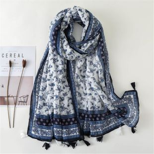 Blue and white porcelain flower pattern scarf scarf female silk scarf cotton warm shawl NHGD180136's discount tags