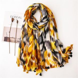Cotton and linen scarf yellow rendering leopard print long section scarf lady sunscreen shawl NHGD180104's discount tags