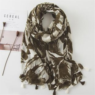 Banana leaf scarf female long section large shawl super dual-use beach NHGD180137's discount tags