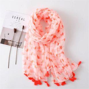 Shawl women's sunscreen cotton scarf flamingo printed silk scarf oversized scarf beach towel NHGD180105's discount tags