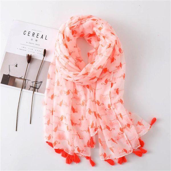 Shawl women's sunscreen cotton scarf flamingo printed silk scarf oversized scarf beach towel NHGD180105