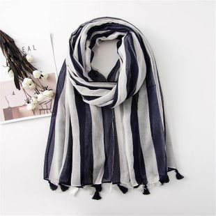 Fashion cotton and linen scarf female blue white striped tassel long section winter warm scarf scarf NHGD180140's discount tags