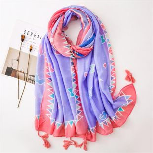 Cotton and linen hand scarf female love bird long travel shawl beach towel NHGD180143's discount tags