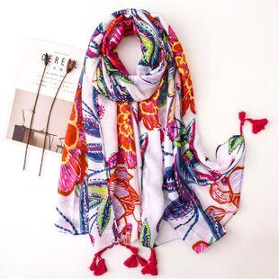 Scarf female painted flower shawl cotton beach sunscreen shawl scarves beach towel NHGD180145's discount tags