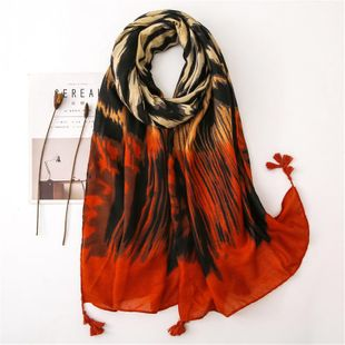 Fashion cotton and linen scarves sexy leopard orange sunscreen long large shawl scarves NHGD180147's discount tags