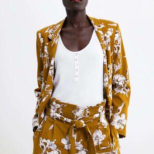 Wholesale flower print casual blazer NHAM179892's discount tags