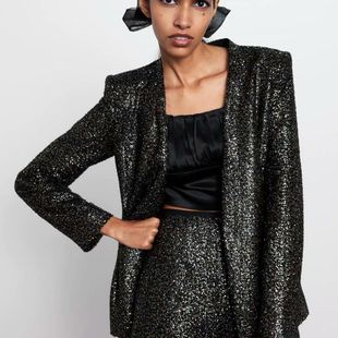 Wholesale new products sequined blazer temperament ladies shirt small suit NHAM179927's discount tags