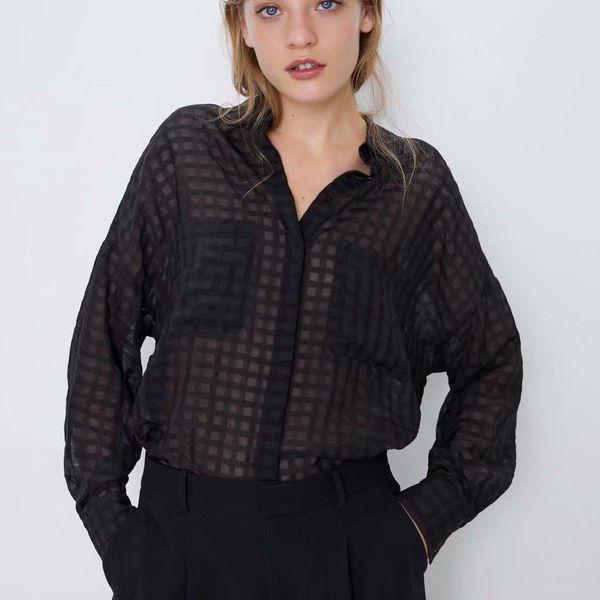 Wholesale transparent hard gauze children's shirt top NHAM179856