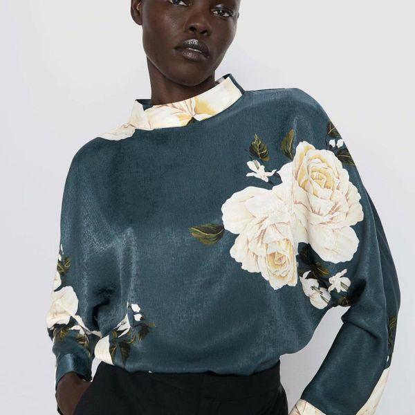 Wholesale winter print blouse top NHAM179866