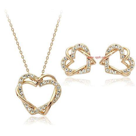 Ensemble de boucles d'oreilles collier en diamant serti de cœur à tempérament de mode NHLJ180407's discount tags