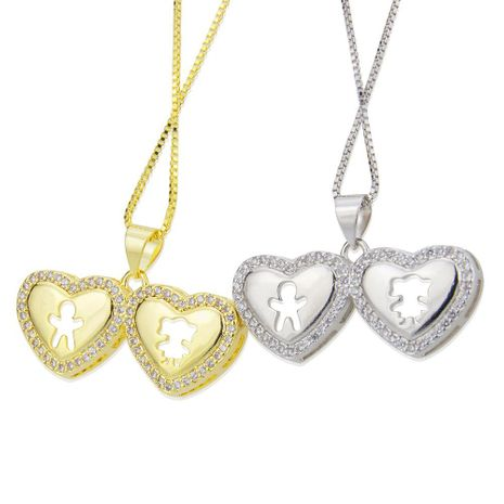 Heart-shaped boy girl pendant simple fashion couple copper plated silver necklace NHBP180159's discount tags