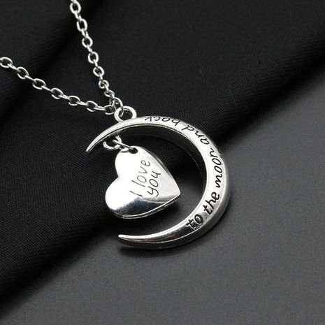 Best selling couple necklace I love you moon heart love necklace clavicle chain NHCU180251's discount tags