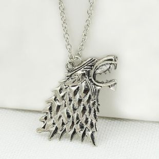 Animal Wolf Head Wolf Necklace Stark Wolf Necklace Sweater Chain NHCU180260's discount tags