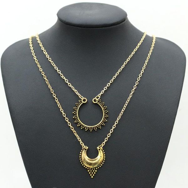 Best selling long necklace retro metal carved crescent double-layer necklace sweater chain wholesale NHCU180264