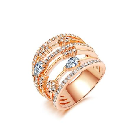 Stylish personality ring plated rose gold micro-inlaid zircon multi-ring ring NHLJ180396's discount tags