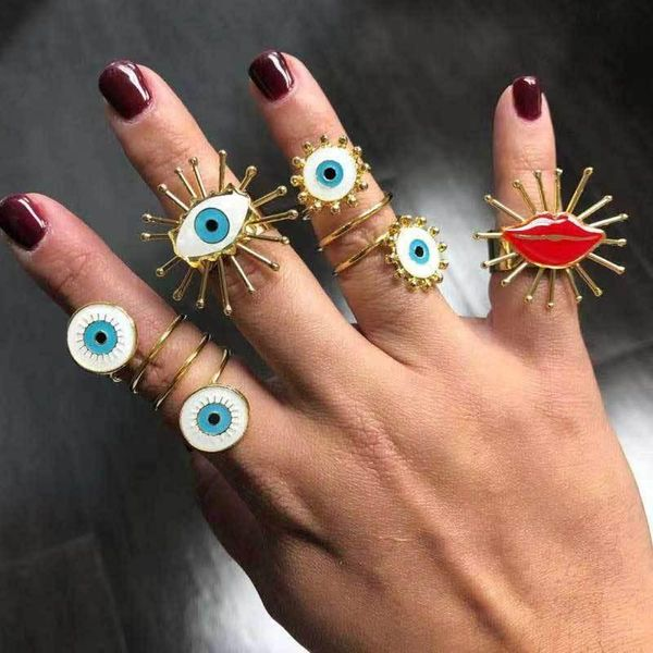 Europe and the United States cross-border jewelry fashion gold-plated painting oil devil's eye ring ladies street shoot fashion open ring female NHOT180510