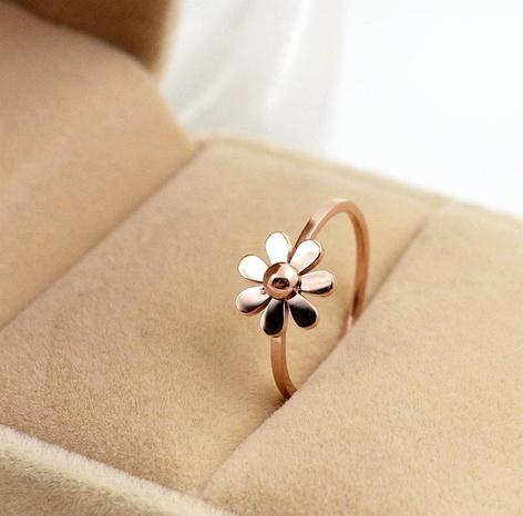 Bague de mariage couple petite queue anneau paire anneau marguerite rose argent index doigt acier titane bague anneau NHIM180378's discount tags
