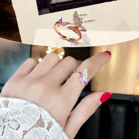 Papillon zircon ouverture anneau simple polyvalent bijoux mode bague NHIM180380's discount tags