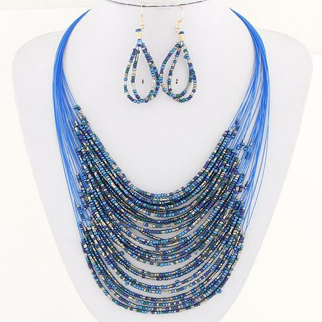 Fashion bohemian celebrity rice beads multi-layer necklace earrings set NHSC180149's discount tags