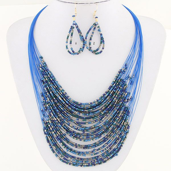 Fashion bohemian celebrity rice beads multi-layer necklace earrings set NHSC180149