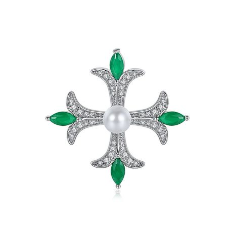 Brooch simple cross lady copper inlaid zirconium pearl brooch pin gift NHTM180426's discount tags