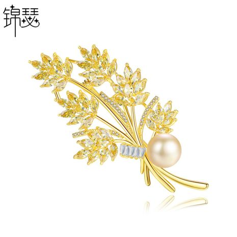 Brooch fashion women's gold copper inlaid zirconium pearl leaf brooch sweater accessories NHTM180441's discount tags