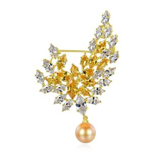 Brooch copper inlaid zircon lady brooch banquet pearl brooch accessories gift NHTM180442's discount tags