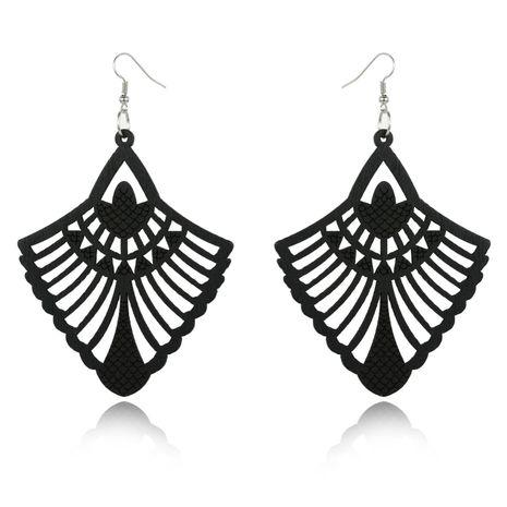 Geometric hollowed out wood large earrings retro ear hook wholesales fashion NHGO180466's discount tags