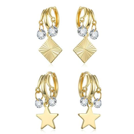 Individual zircon does not open the ear ring gold and silver stars diamond earrings NHGO180467's discount tags