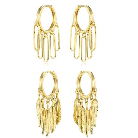 New non-opening ear ring personality gold silver leaf earrings earrings unique earrings NHGO180468's discount tags