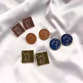 Abstract Portrait 925 Silver Avocado Huayou Square Stud Earrings Vintage Earrings wholesales fashion NHGO180474