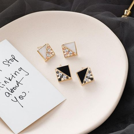925 Silver Flash Diamond Stitching Square Geometric Stud Earrings Irregular Rhinestone Acrylic Square Earrings NHMS180206's discount tags