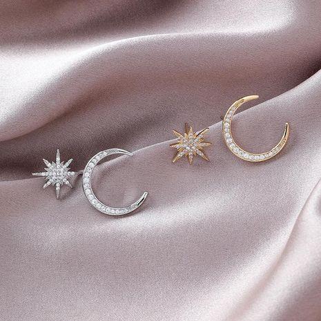 925 Silver Needle Star Moon Asymmetric Stud Earrings women NHMS180215's discount tags